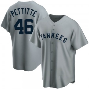 Men's New York Yankees Andy Pettitte Replica Gray Road Cooperstown Collection Jersey