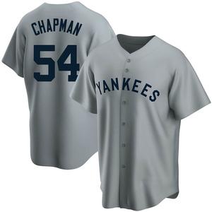 Men's New York Yankees Aroldis Chapman Replica Gray Road Cooperstown Collection Jersey