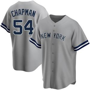 Men's New York Yankees Aroldis Chapman Replica Gray Road Name Jersey