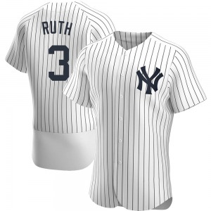 Men's New York Yankees Babe Ruth Authentic White Home Jersey
