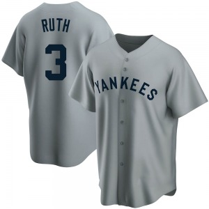 Men's New York Yankees Babe Ruth Replica Gray Road Cooperstown Collection Jersey