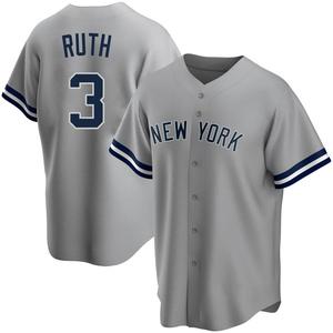 Men's New York Yankees Babe Ruth Replica Gray Road Name Jersey