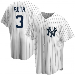 Men's New York Yankees Babe Ruth Replica White Home Jersey