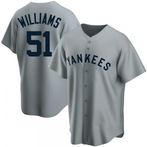 Men's New York Yankees Bernie Williams Replica Gray Road Cooperstown Collection Jersey