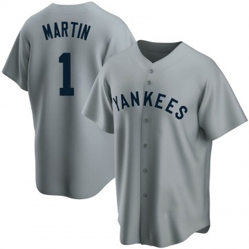 Men's New York Yankees Billy Martin Replica Gray Road Cooperstown Collection Jersey