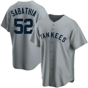 Men's New York Yankees CC Sabathia Replica Gray Road Cooperstown Collection Jersey