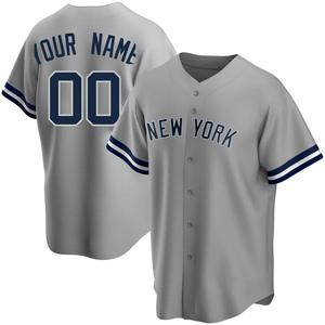 Men's New York Yankees Custom Replica Gray Road Name Jersey