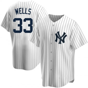 Men's New York Yankees David Wells Replica White Home Jersey
