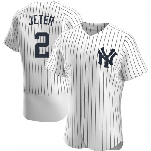Men's New York Yankees Derek Jeter Authentic White Home Jersey