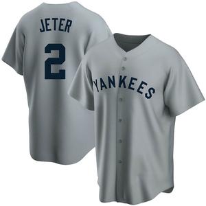 Men's New York Yankees Derek Jeter Replica Gray Road Cooperstown Collection Jersey