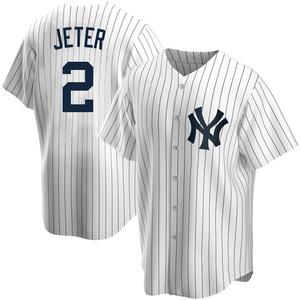 Men's New York Yankees Derek Jeter Replica White Home Jersey