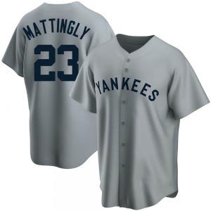Men's New York Yankees Don Mattingly Replica Gray Road Cooperstown Collection Jersey