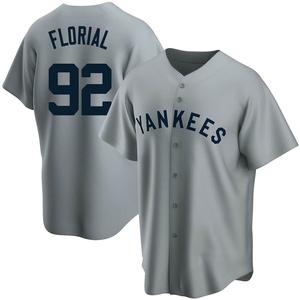 Men's New York Yankees Estevan Florial Replica Gray Road Cooperstown Collection Jersey