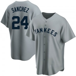 Men's New York Yankees Gary Sanchez Replica Gray Road Cooperstown Collection Jersey