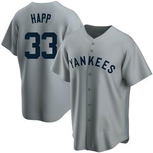 Men's New York Yankees J.A. Happ Replica Gray Road Cooperstown Collection Jersey