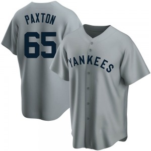 Men's New York Yankees James Paxton Replica Gray Road Cooperstown Collection Jersey