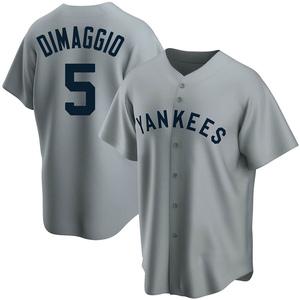 Men's New York Yankees Joe DiMaggio Replica Gray Road Cooperstown Collection Jersey