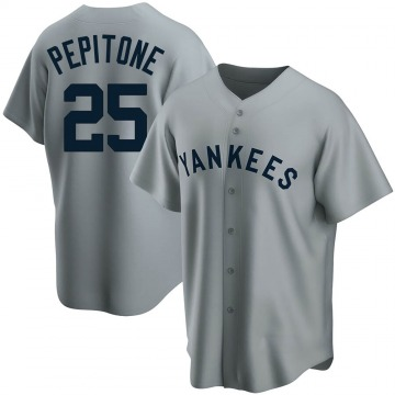 Men's New York Yankees Joe Pepitone Replica Gray Road Cooperstown Collection Jersey