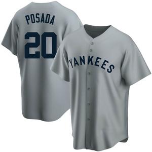 Men's New York Yankees Jorge Posada Replica Gray Road Cooperstown Collection Jersey