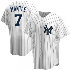 Men's New York Yankees Mickey Mantle Replica White Home Jersey