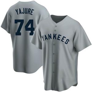 Men's New York Yankees Miguel Yajure Replica Gray Road Cooperstown Collection Jersey