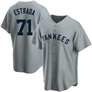 Men's New York Yankees Thairo Estrada Replica Gray Road Cooperstown Collection Jersey