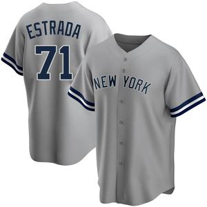 Men's New York Yankees Thairo Estrada Replica Gray Road Name Jersey