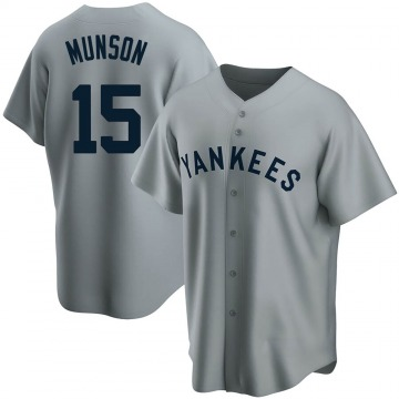Men's New York Yankees Thurman Munson Replica Gray Road Cooperstown Collection Jersey