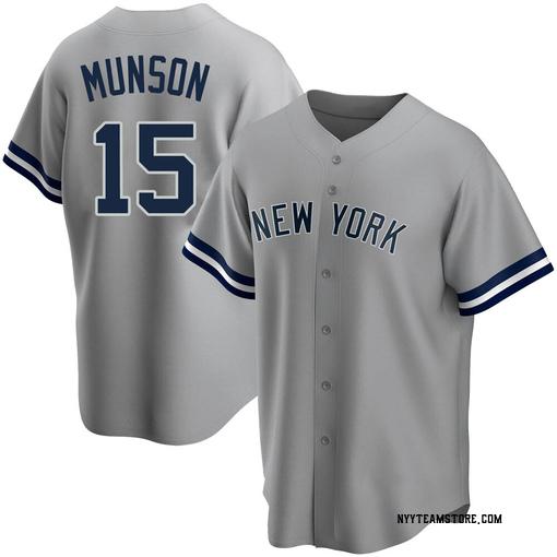 Men's New York Yankees Thurman Munson Replica Gray Road Name Jersey