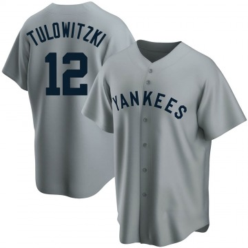 Men's New York Yankees Troy Tulowitzki Replica Gray Road Cooperstown Collection Jersey