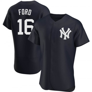 Men's New York Yankees Whitey Ford Authentic White Navy Alternate Jersey