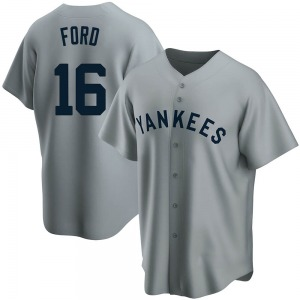 Men's New York Yankees Whitey Ford Replica White Gray Road Cooperstown Collection Jersey