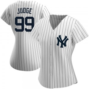 Women's New York Yankees Aaron Judge Authentic White Home Name Jersey