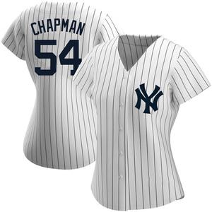 Women's New York Yankees Aroldis Chapman Authentic White Home Name Jersey