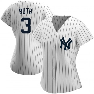 Women's New York Yankees Babe Ruth Replica White Home Name Jersey