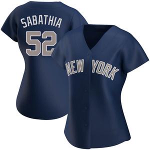 Women's New York Yankees CC Sabathia Authentic Navy Alternate Jersey