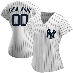 Women's New York Yankees Custom Authentic White Home Name Jersey