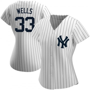 Women's New York Yankees David Wells Replica White Home Name Jersey