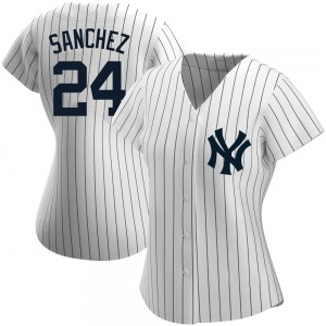 Women's New York Yankees Gary Sanchez Replica White Home Name Jersey