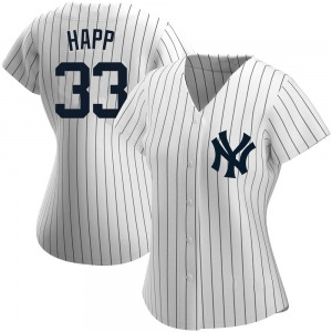 Women's New York Yankees J.A. Happ Authentic White Home Name Jersey