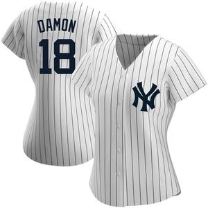Women's New York Yankees Johnny Damon Replica White Home Name Jersey