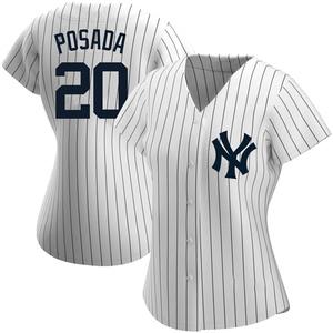 Women's New York Yankees Jorge Posada Replica White Home Name Jersey