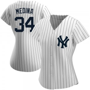 Women's New York Yankees Luis Medina Authentic White Home Name Jersey