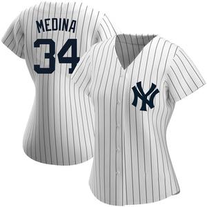 Women's New York Yankees Luis Medina Replica White Home Name Jersey