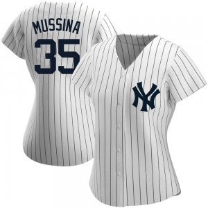 Women's New York Yankees Mike Mussina Replica White Home Name Jersey