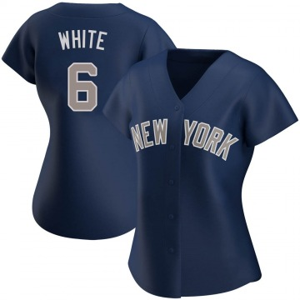 Women's New York Yankees Roy White Authentic White Navy Alternate Jersey