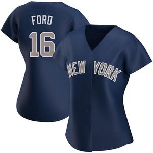 Women's New York Yankees Whitey Ford Replica White Navy Alternate Jersey