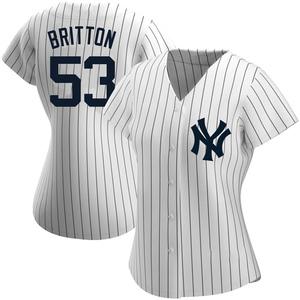 Women's New York Yankees Zack Britton Replica White Home Name Jersey