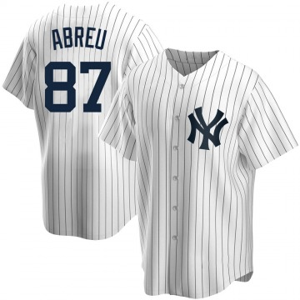 Youth New York Yankees Albert Abreu Replica White Home Jersey