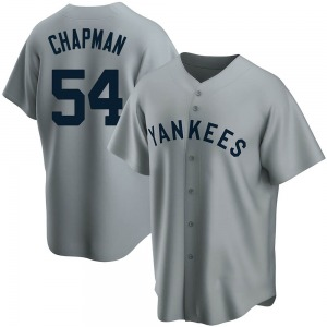 Youth New York Yankees Aroldis Chapman Replica Gray Road Cooperstown Collection Jersey